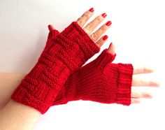 Knit Fingerless Gloves. Red Knit Mittens. Knitted by MallinaDesign