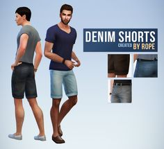 Denim Shorts for the Sims 4. A little something for simsanityx, who asked for it yesterday ! I didn't respond to everyone I think, but I read your ideas don't worry, and don't hesitate if there is a clothing item you need for your sims, you can ask. As explained in my FAQ, I don't promise anything, but if I find the project interesting for my sims, I may do it ! So nothing too complicated this time, I used the same colors on my previous jeans. Available for teen to elder men, with 15 col...