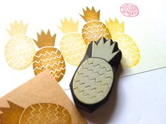 pineapple stamp. hand carved rubber stamp. summer door talktothesun