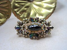 Vintage Brooch Pin -Hollycraft Brooch Pin - Hollycraft Oval Rhinestone Brooch - Multi-Colored Brooch - 1956 Hollycraft Jewerly-