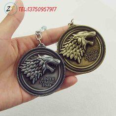 Game of Thrones Bouclier Rond Coin Métal Une Chanson de Glace et Feu Stark famille crêtes Porte-clés Pendentif Porte-clés Chaveiro Clé anneau