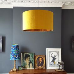 Brushed Copper Lampshade In Mustard Indian Silk Dupion - statement lighting