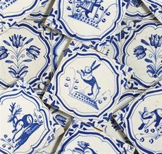 A SET OF FOURTEEN DUTCH DELFT ANIMAL TILES AND A SET OF NINE DUTCH DELFT TULIP TILES...........yes i legit pinned something from Christie's Auction House Online