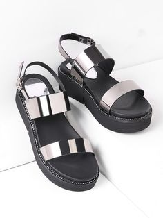 SheIn offers Studded Detail Metallic Patent Leather Flatform Sandals & more to fit your fashionable needs. Silver Sandals, Leather Sandals, Shoes Sandals, Patent Leather, Studded Leather, Sneakers Fashion, Fashion Shoes, Metallic Shoes, Online Shopping Shoes
