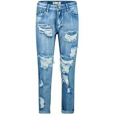 Boohoo Lizzy Low Rise Distressed Boyfriend Jeans ($28) ❤ liked on Polyvore featuring jeans, torn jeans, low-rise boyfriend jeans, destructed jeans, boyfriend jeans and ripped jeans