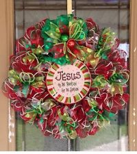 Christmas Wreath Deco Mesh Jesus Is The Reason