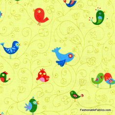 Fabric... How Tweet It is Bird with Swirls by Timeless Treasures