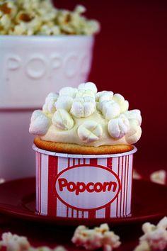 Popcorn movie night bucket cupcakes    too cute :)