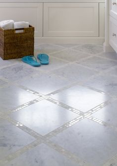 Graciela Rutkowski Interiors: Bathroom Floor With Marble Tiles And Marble  Mosaic Inset Tiles.