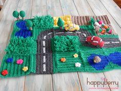 Happy Berry Crochet: CAL Crochet Road Play Mat - Tutorial Vegetable Patch & Flower Field (use grass pattern for other play mat) Crochet Game, Crochet For Kids, Diy Crochet, Crochet Dolls, Ravelry Crochet, Tutorial Crochet, Crochet Flower, Bookmarks Kids, Crochet Bookmarks