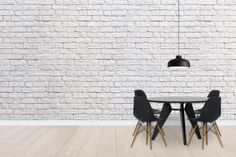 Brick Wall - White - Wall Mural & Photo Wallpaper - Photowall