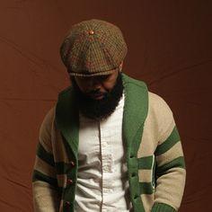 BKc 8 Panel Hat Houndstooth Harris Tweed Hat