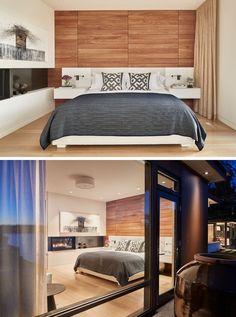 В этой современной спальне есть камин и деревянный акцент стены, чтобы создать ощущение тепла и спокойствия за номер. #Спальня #BedroomDesign #Камин #WoodAccentWall