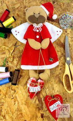 anjinho de feltro, anjo, bear felt, christmas felt, feltro, fieltro navidade, natal, teddy felt, ursinho, ursinho de feltro