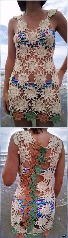 Crochet Trailing Flowers Beach Cover Up Free Pattern - Crochet Beach Cover Up Free Patterns