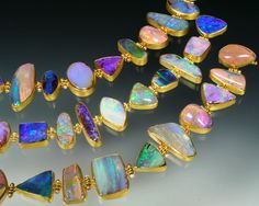 Sam Shaw Jewelry GOLD OPAL BRACELET Bracelet with a suite of magnificent Australian boulder opals, each stone set in bezels with gold hinges and clasp. I Love Jewelry, Gems Jewelry, Modern Jewelry, Jewelry Art, Gemstone Jewelry, Jewelery, Jewelry Accessories, Fine Jewelry, Jewelry Design