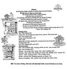 Directions for ''Sisters'' stitchery.