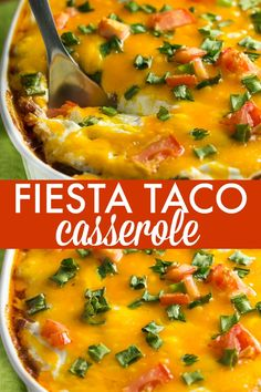 Taco Casserole Recipe Fiesta Taco Casserole - Packed with ground beef, cheese, beans and sour cream.Fiesta Taco Casserole - Packed with ground beef, cheese, beans and sour cream. Gourmet Recipes, Mexican Food Recipes, Cooking Recipes, Healthy Recipes, Ground Beef Recipes Mexican, Dinner Recipes, Cooking Tips, Diabetic Recipe With Ground Beef, Hamburger Meat Recipes Ground