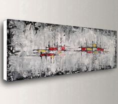 Made to order rolled unstretched modern abstract textured palette knife artwork by artist baron visi available sizes rolled unstretched canvas extra border left on each side for the stretching dominant colours black white red yellow Large Canvas Wall Art, Abstract Canvas Art, Oil Painting Abstract, Texture Painting, Acrylic Art, Black Painting, Black And White Wall Art, Black White, Art Mural