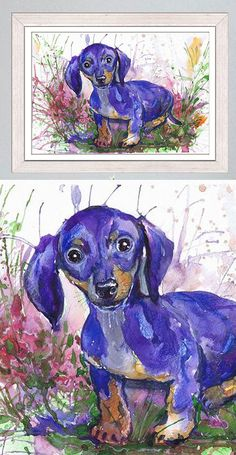 Dog Art Print of Dachshund from  Dog Watercolor Art by ValrArt on Etsy♥🌸♥