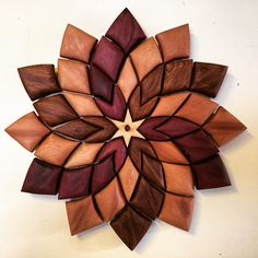 "'Flower Power' 18x18"" Red, yellow cedar #wood #woodart #woodwork #woodmagic…"