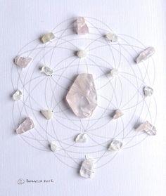 BALANCE SUPPORT LOVE  framed sacred crystal grid  by CrystalGrids,