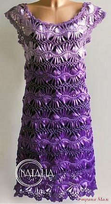 """Вязание: платье """"Сирень"""", связанное на вилке из атласных лент"""