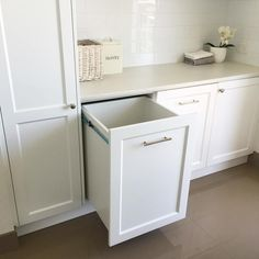 I highly recommend adding laundry drawers in any new build or renovation - I wish I did 3 instead of the 2 now! #ourhamptonstyleforeverhome #hamptonstyle #classicstyle #laundrydrawers
