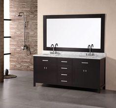 "London 72"" Double Sink Vanity Set in Espresso"