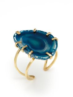Oversized Teal Agate Cuff by Rebecca Norman on Gilt