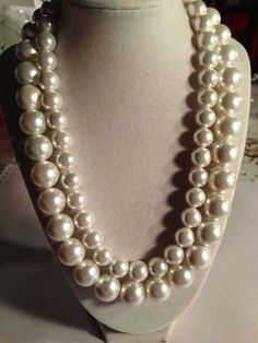 Pearl Necklace Double Strand Necklace Chunky by jewelrybycarmal, $105.00