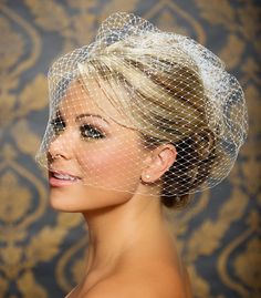 "Birdcage Veil, Bird Cage Veil, Blusher Veil, Large Full Bridal Veil in Russian Netting - 18"" - Made to order in White, Ivory, and Black"