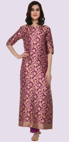 Purple Zari Jamawar Banarasi Hand Woven Pure Silk Suit