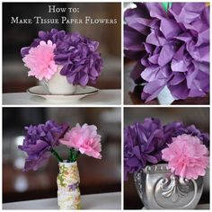 Step by Step instructions to make Tissue Paper flowers. This craft is easy enough for a 5 year old to do and is a fun springtime activity.