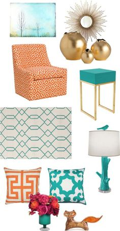 Tangerine + Teal Color Combo via The Blissful Bee Blog