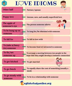 Love Idioms: 30 Popular Idioms about Love in English - English Study Online Teaching English Grammar, English Vocabulary Words, Learn English Words, English Idioms, English Phrases, English Language Learning, English Writing, English Study, English Lessons