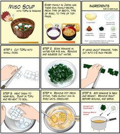 Miso Soup Step- by-step guide cartoon by Chef Taro Tofu Miso Soup, Asian Recipes, Healthy Recipes, Japanese Dishes, Japanese Recipes, Japanese Soup, Japanese Curry, Asian Cooking, Cooking Ribs