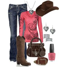 """""""Country"""" by joniwollf on Polyvore I have the boots, earrings are almost the same, my hat is ivory, though"""