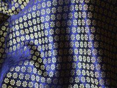 Brocade Fabric in Flower Motifs Weaving - Navy Blue and Gold Brocade - Indian Art Silk Brocade Fabric by the Yard