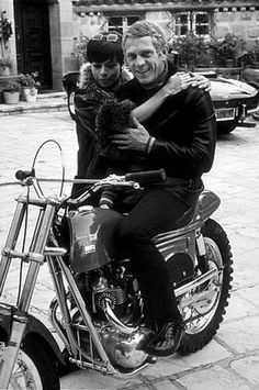 mo Neile Adams McQueen and Steve McQueen & Motorcycle Metisse 1970