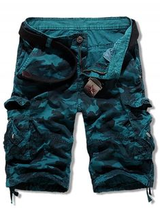 6145388cb5 [23% OFF] 2019 Camouflage Print Multi Pockets Cargo Shorts In PEACOCK BLUE  34. Camouflage ColorsShorts OnlineFashion PantsMens ...