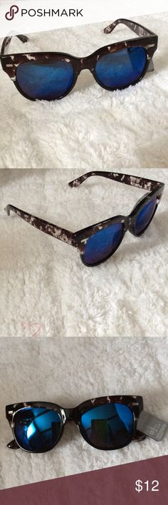Black Patterned Sunglasses w/ Blue Lenses Super cute, brand new! No trades! Accessories Sunglasses