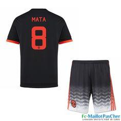 Nouveau Maillot du Manchester United noir Enfant Mata 8 Third 15 2016 2017