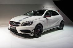 Mercedes presented its roper B-Segment hatchback at the Geneva Motor Show. The new Mercedes-Benz a 45 AMG is powered by a turbocharged four-cylinder that, Mercedes A45 Amg, New Mercedes, Bmw, Easy Rider, Hot Rides, Luxury Cars, Dream Cars, Super Cars, Automobile