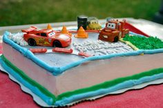 Cars Cake - simple idea, and you could do this for other themes too.