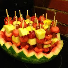 Watermelon bowl with fruit skewers!