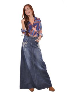 Floral Chic Long Jean Skirt and many other cute ones!