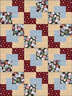 """Sweet Treats Blue 12 Pre-Cut Quilt Kit 8"""" Blocks"""