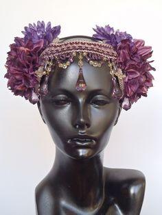Custom : Miss G Designs – Custom mauve Feather Headpieces From California