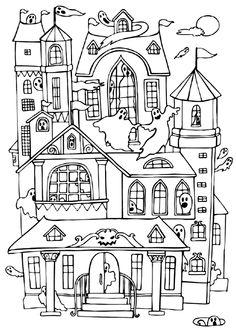 "iColor ""Little Kids Halloween"" Castle Coloring Page, House Colouring Pages, Coloring Pages To Print, Coloring Book Pages, Coloring Sheets, Coloring Pages For Kids, Kids Coloring, Haunted House Drawing, Haunted House For Kids"